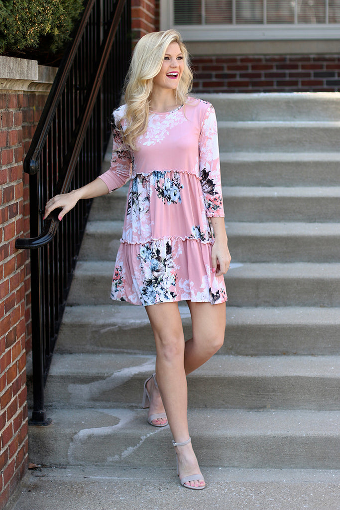 Spring Colors Floral Dress (Blush) - Pineapple Collective