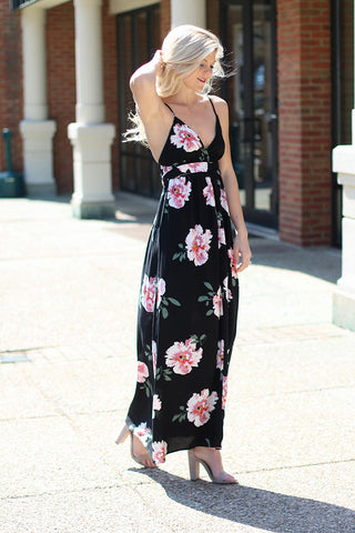 All Over You Floral Printed Maxi Dress (Black/Rose) - Pineapple Collective