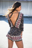Bohemian Open Back 3/4 Bell Sleeve Romper - Pineapple Collective