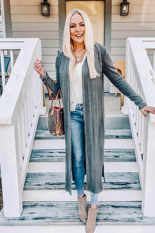 A Good Thing Open Front Long Body Cardigan (Charcoal) - Pineapple Collective