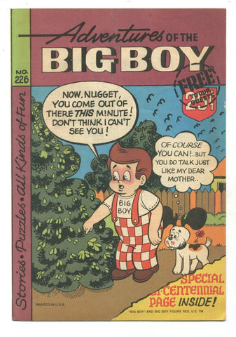 Adventures of the Big Boy #226    Restaurant Giveaway Comic