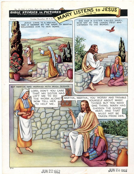 Bible Stories in Pictures #10 Part 1    June 22 1952     Mary Listens to Jesus