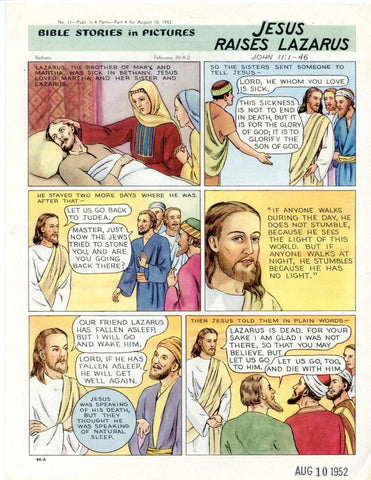 Bible Stories in Pictures #11 Part 4    August 10 1952     Jesus Raises Lazarus