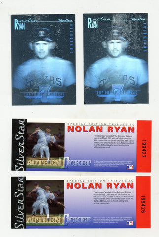 2 Nolan Ryan Silver Star Hologram Cards and Tickets