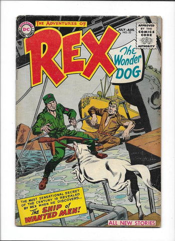 ADVENTURES OF REX THE WONDER DOG #22 [1955 VG-FN] NAZI SHIP COVER!