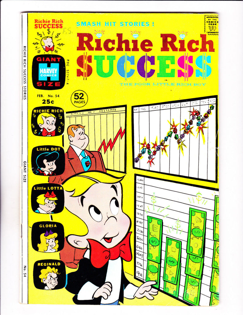 Richie Rich Success Stories No 54 : 1974 :Financial Charts Cover :