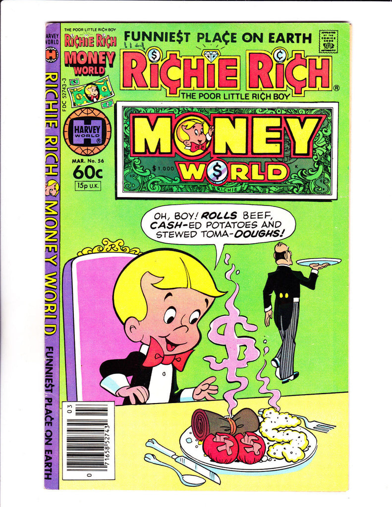Richie Rich Money World No 56 : 1982 :Money Meal Cover :