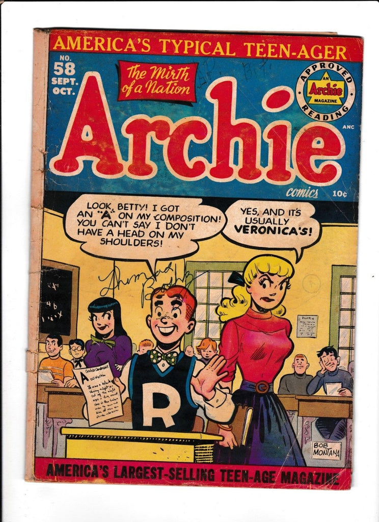 ARCHIE #58 [1952 GD] CLASSROOM COVER