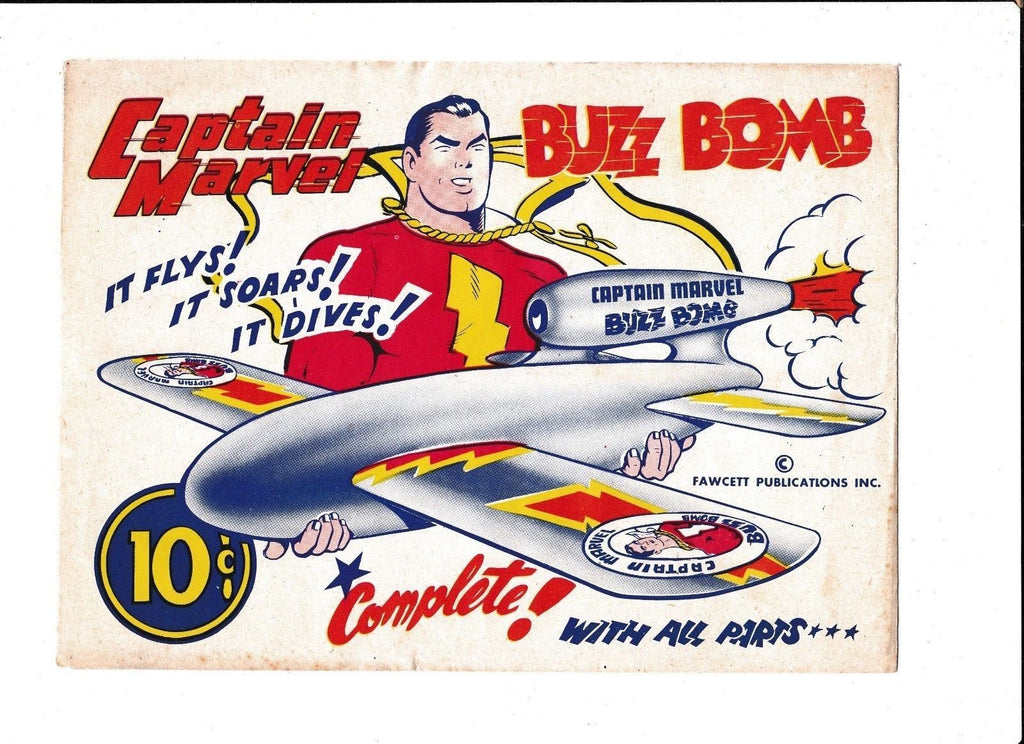 CAPTAIN MARVEL BUZZ-BOMB PAPER TOY  [1940's-50's FN-VF]  FAWCETT