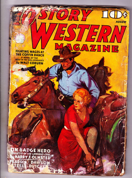 10 Story Western Magazine Aug 1937 Tin Badge Hero