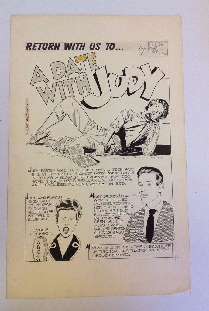 A Date with Judy Original Splash Page     1985   Bill Owen   Don Sherwood