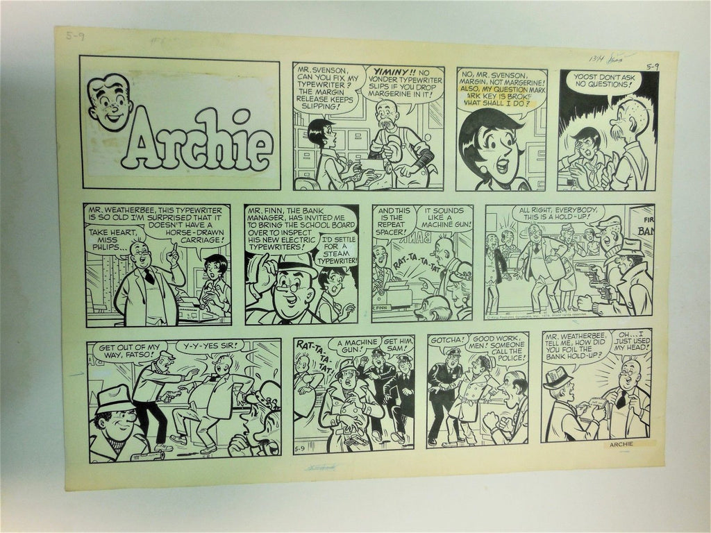 Archie Sunday Comic Strip   Original Art
