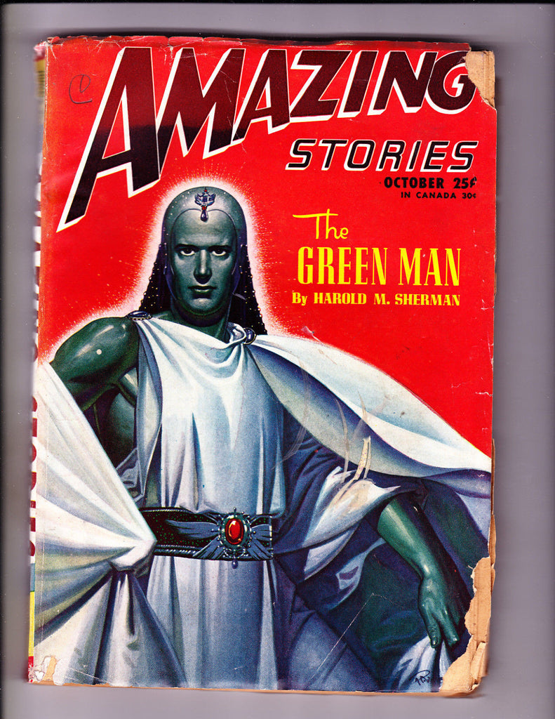 Amazing Stories Oct 1946 The Green Man Cover!