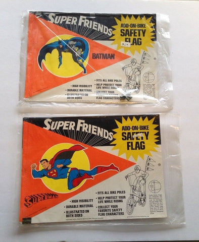 2 Super Friends Safety Bike Flags   Batman Superman   New in Package  1974
