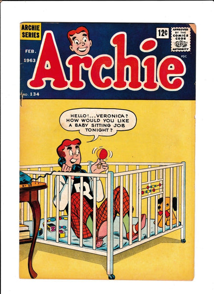 ARCHIE #134  [1963 VG+]  BABY CRIB COVER!