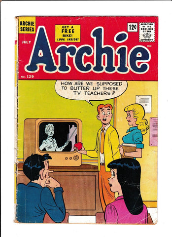 ARCHIE #129  [1962 GD]  TV TEACHERS COVER!