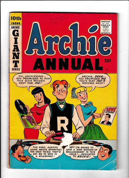 ARCHIE ANNUAL #10  [1959 GD-VG]  ELVIS RECORDS ON COVER!