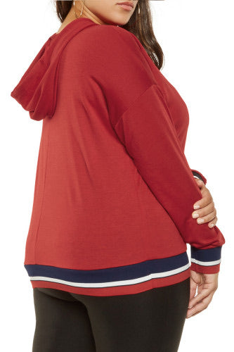 womens red plus size hoodie