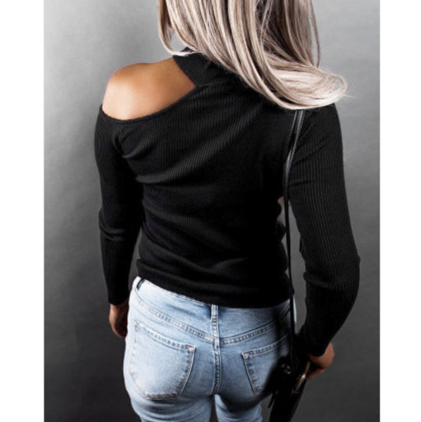 """Classy"" Black Long Sleeve Cold Shoulder Shirt"