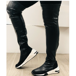 """Lori"" Over The Knee Black Sneaker Boot"