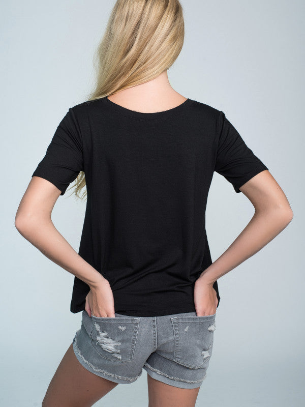 Woman basic black t-shirt