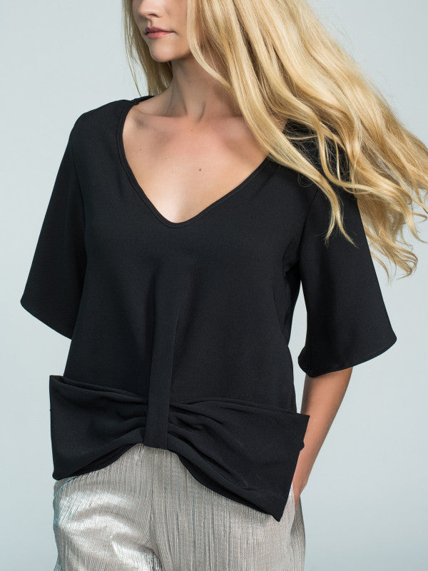 Woman black blouse with bow