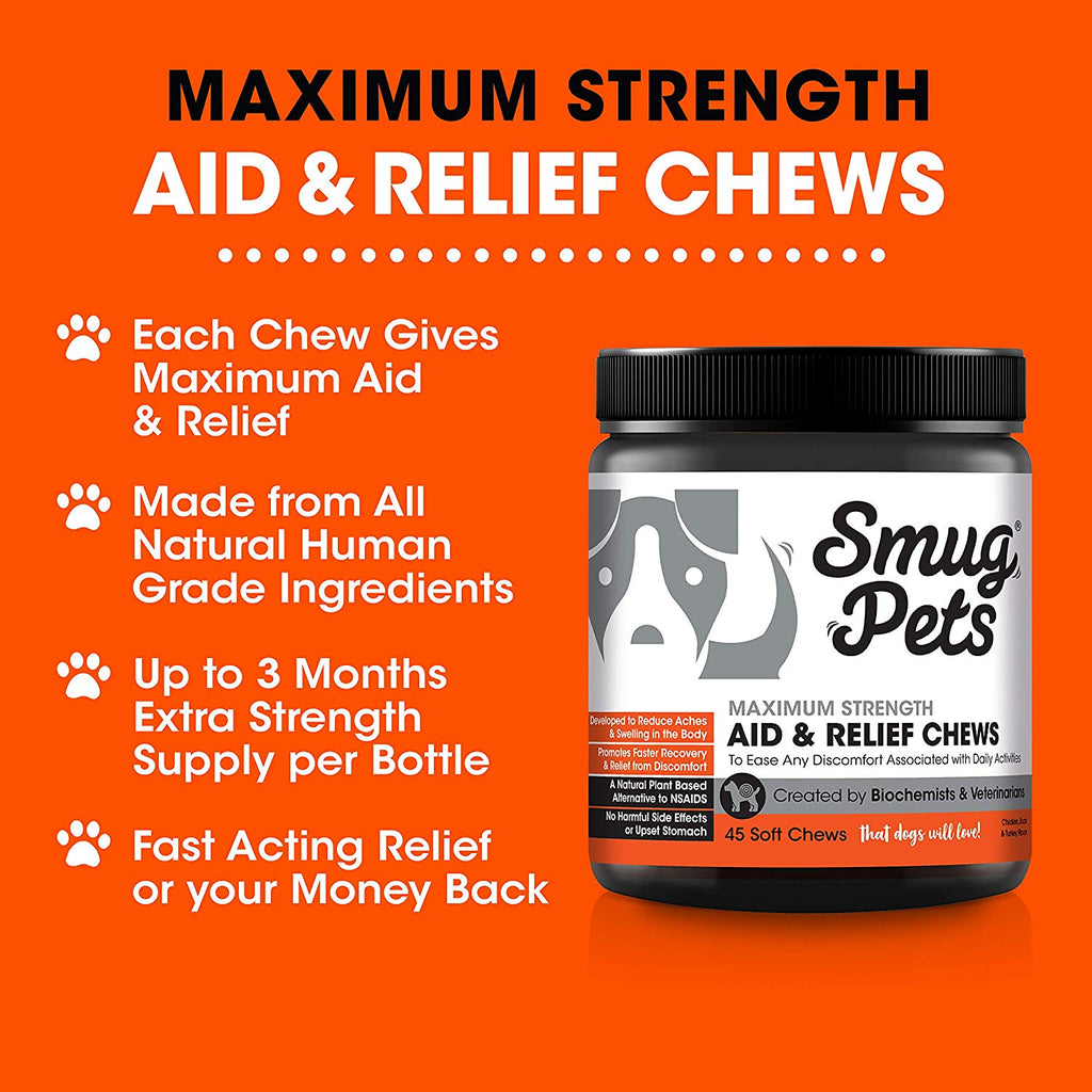 SmugPets 45 Maximum Strength Dog Pain Relief & Anti Inflammatory Chews