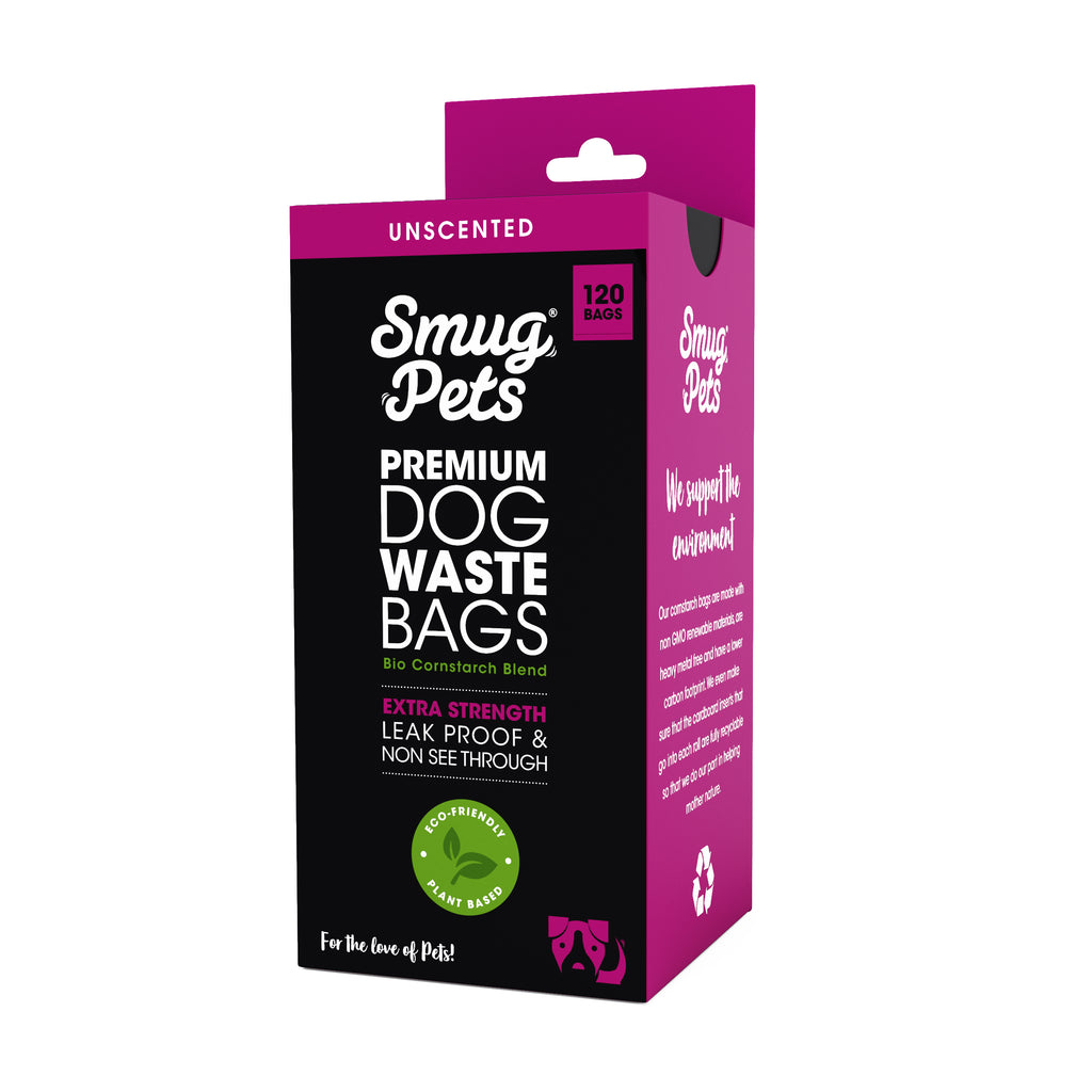 SmugPets 120 Premium Biodegradable Dog Waste Bags - Unscented - Extra Large - 8 Rolls, 15 Bags per Roll - Eco Friendly