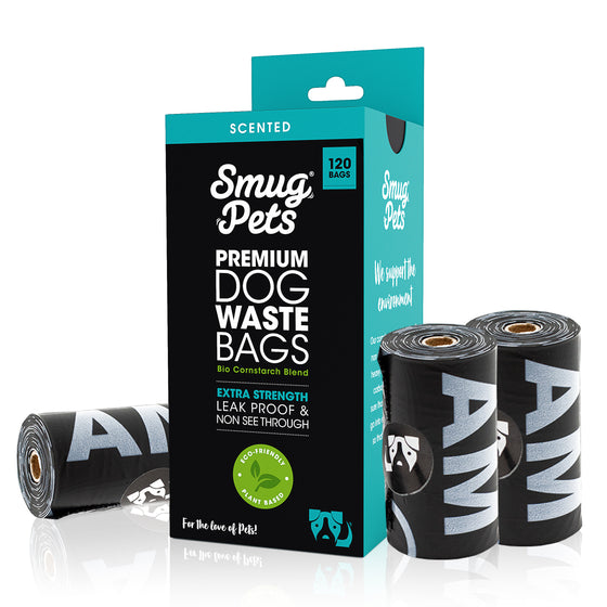 SmugPets 120 Premium Biodegradable Dog Waste Bags - Scented - Extra Large - 8 Rolls, 15 Bags per Roll - Eco Friendly