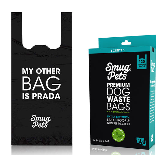 SmugPets 120 Premium Easy Tie Handles Dog Waste Bags - Scented - Extra Large - Eco Friendly