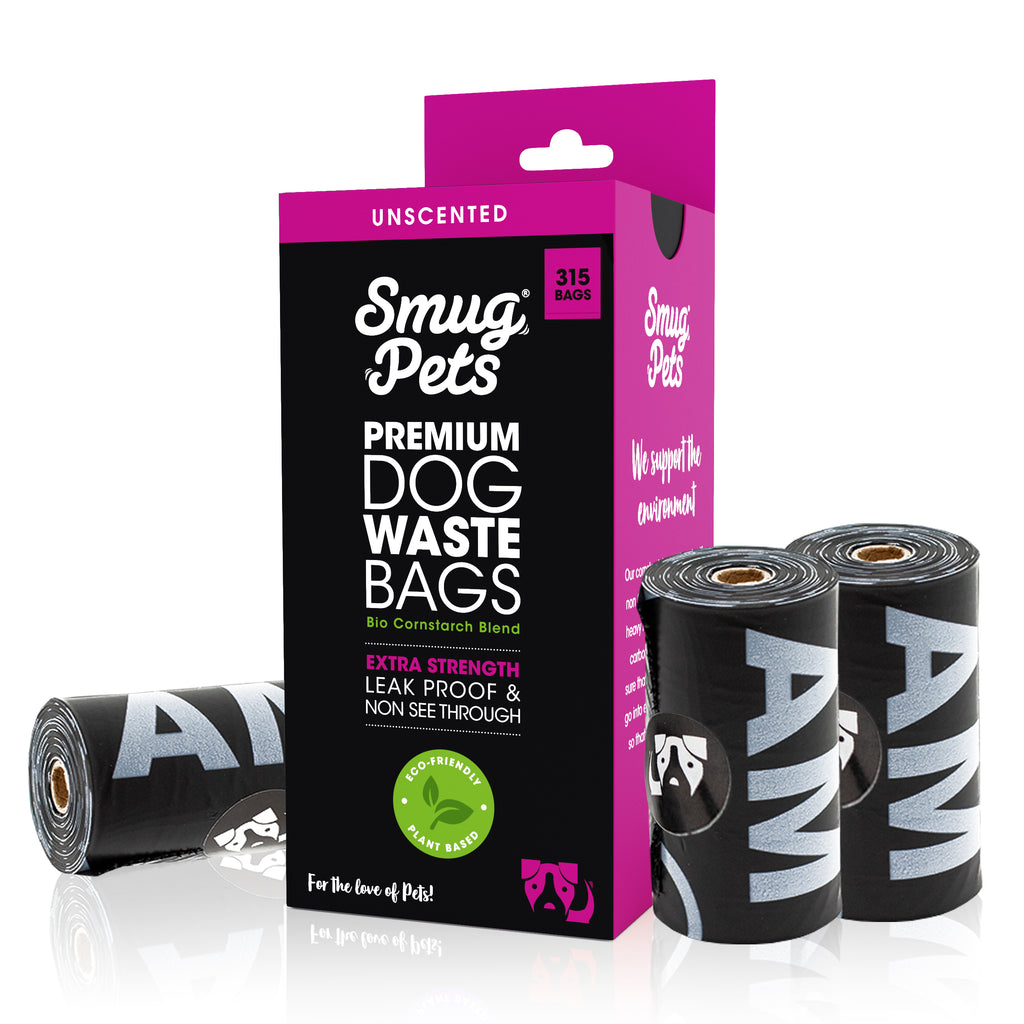 SmugPets 315 Premium Biodegradable Dog Waste Bags - Unscented - Extra Large - 21 Rolls, 15 Bags per Roll - Eco Friendly - SmugPets