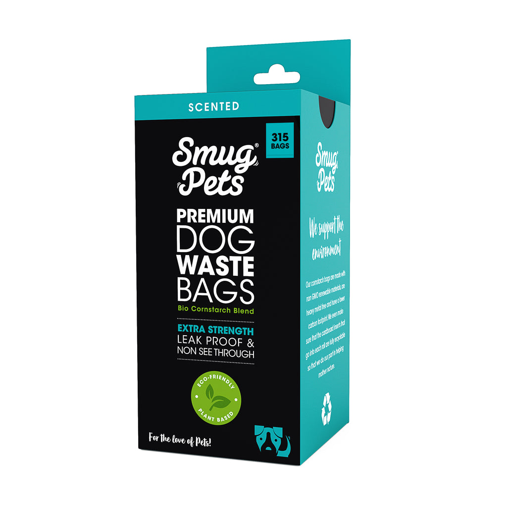SmugPets 315 Premium Biodegradable Dog Waste Bags - Scented - Extra Large - 21 Rolls, 15 Bags per Roll - Eco Friendly