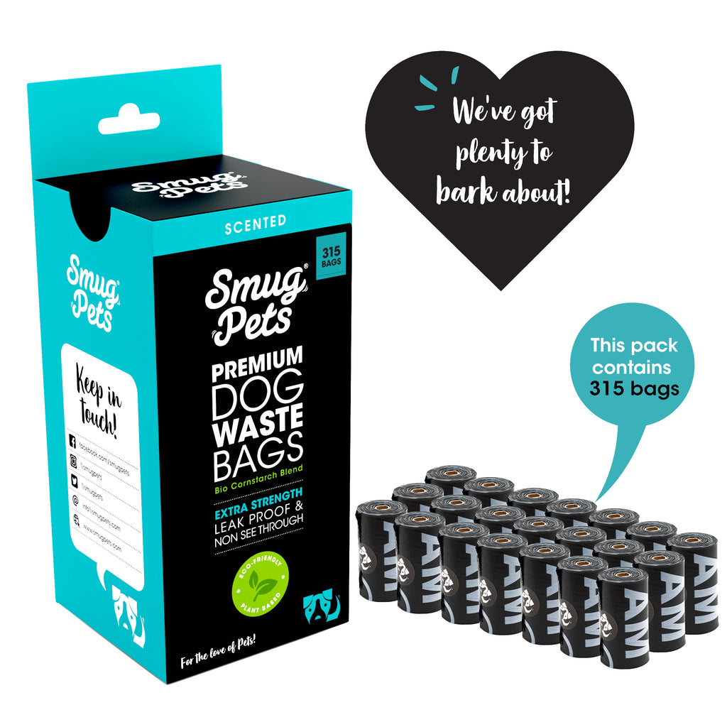 SmugPets 315 Premium Biodegradable Dog Waste Bags - Scented - Extra Large - 21 Rolls, 15 Bags per Roll - Eco Friendly - SmugPets