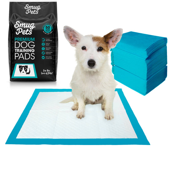 SmugPets 50 Premium Puppy Dog Training Pads - 6 Layers with Poly Lock Core Plus Attractant - Super Absorbent - Odour Elimination - SmugPets