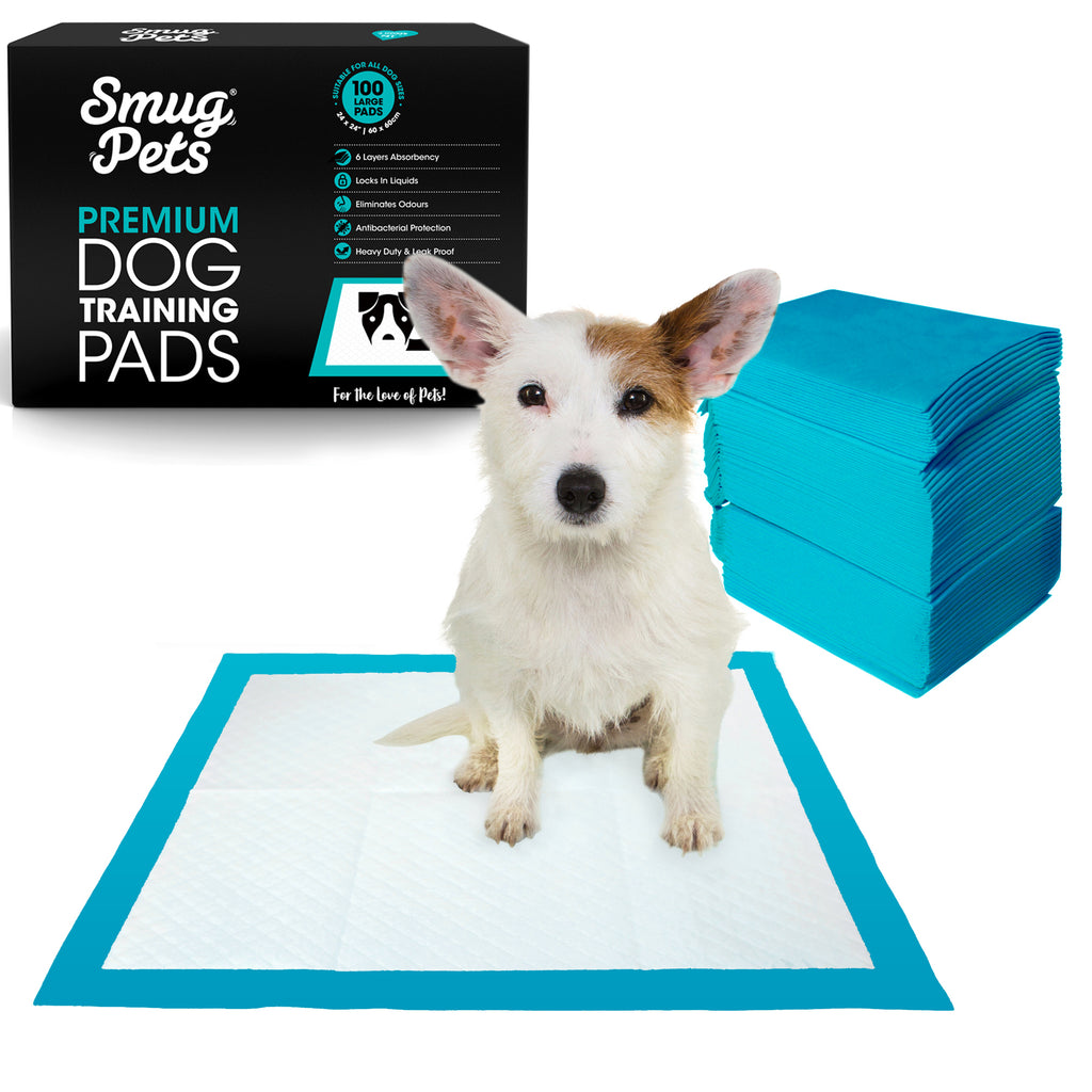 SmugPets 100 Premium Puppy Dog Training Pads - 6 Layers with Poly Lock Core Plus Attractant - Super Absorbent - Odour Elimination - SmugPets