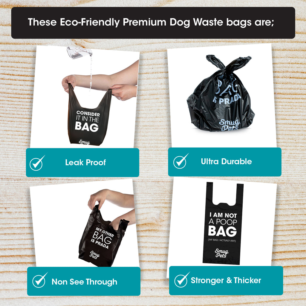 SmugPets 300 Premium Easy Tie Handles Dog Waste Bags - Scented - Extra Large - Eco Friendly - SmugPets