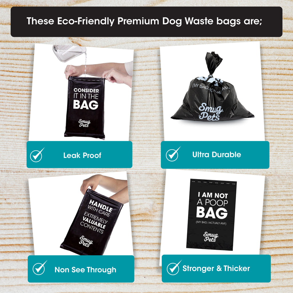 SmugPets Dog Waste Bag Dispenser and Lead Clip - Includes 30 Scented Dog Waste Bags (2 Rolls) - SmugPets