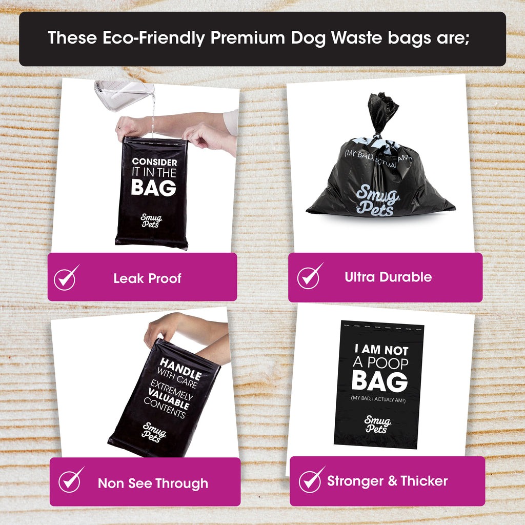 SmugPets Dog Waste Bag Dispenser and Lead Clip - Includes 30 Unscented Dog Waste Bags (2 Rolls)