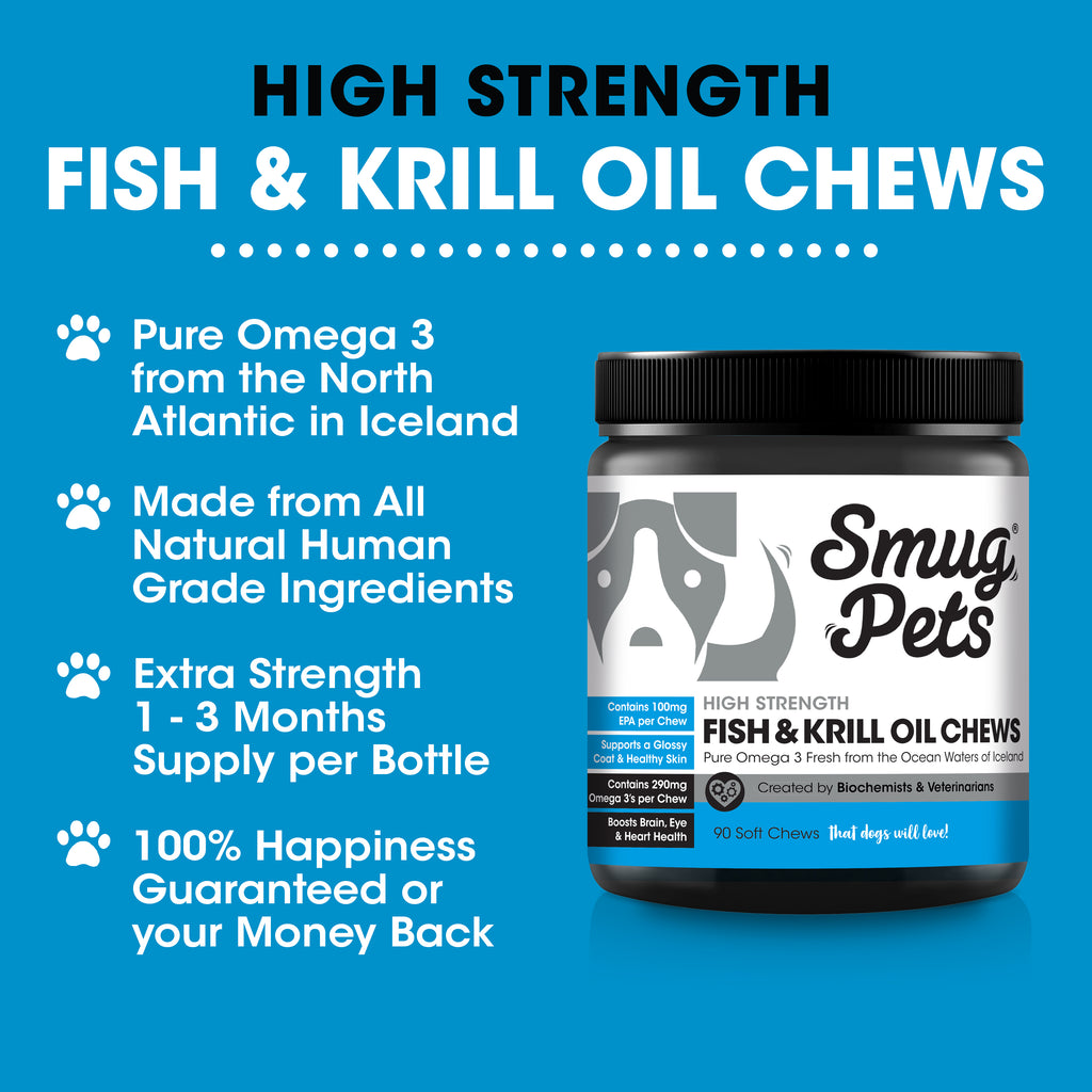SmugPets Omega 3 Dog Chews | High Strength Fish and Krill Oil for Dogs - SmugPets