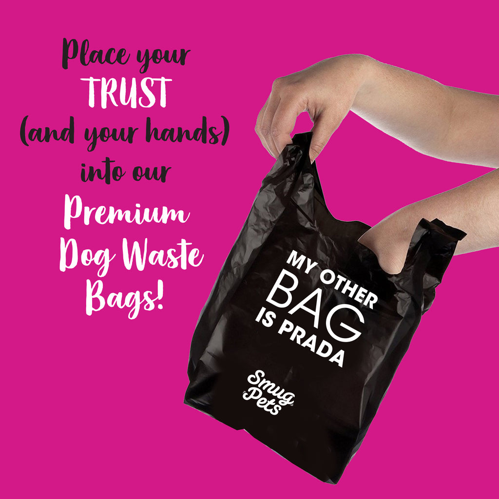 SmugPets 300 Premium Easy Tie Handles Dog Waste Bags - Unscented - Extra Large - Eco Friendly - SmugPets