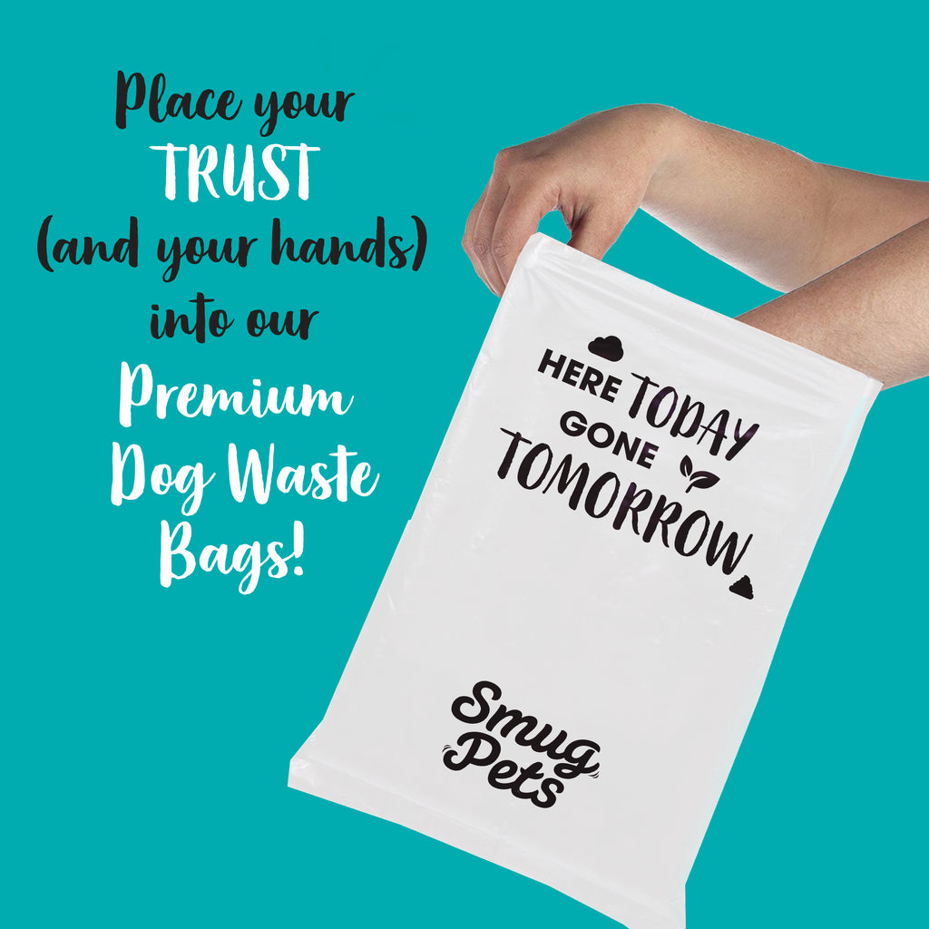 SmugPets Premium 100% Compostable Biodegradable Dog Waste Bags - Extra Large - 15 Bags per Roll - 60 Bags - Eco Friendly