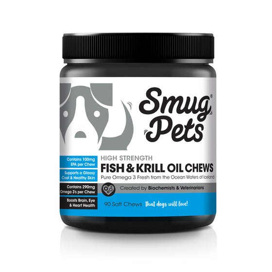 SmugPets Omega 3 Dog Chews | High Strength Fish and Krill Oil for Dogs