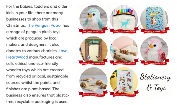 Snippet of feature in the Sincerely Essie Ethical Gift Guide
