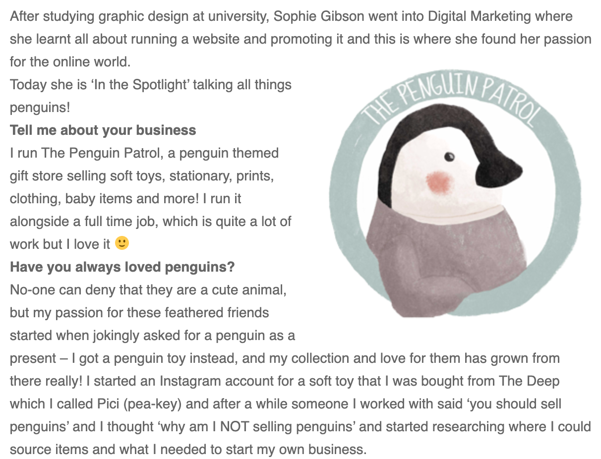 Excerpt from Natalie Trice - The Penguin Patrol in the spotlight article