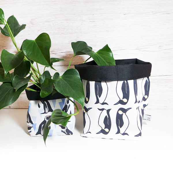 African Penguin Textile Plant Pot Storage Basket by The Owlery
