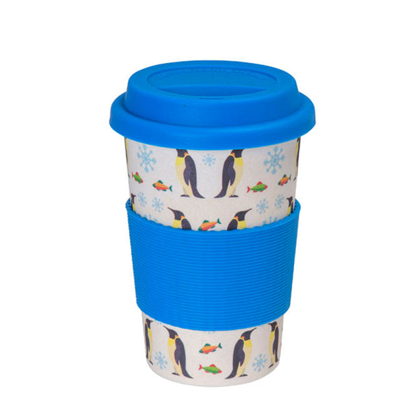 Penguin Design Bamboo Reusable Coffee Cup in Blue