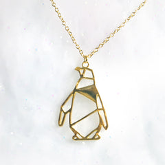 Geometric Origami Penguin Necklace in Gold, Rose Gold & Silver
