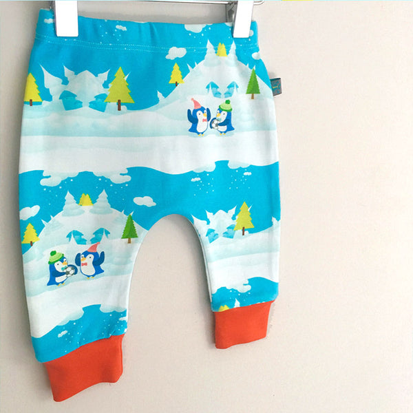 Winter Scene Penguin Baby Leggings w. Red or White Cuff by Maebelle & Bo