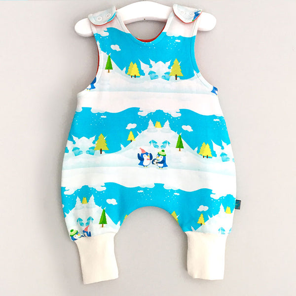 Winter Scene Penguin Baby Romper w. Red or White Cuff by Maebelle & Bo