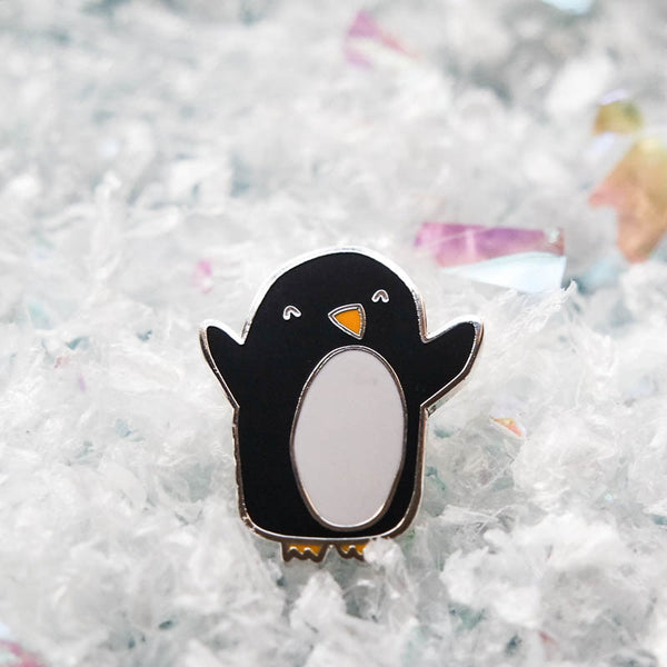 Happy Penguin Enamel Lapel Pin by Nutmeg and Arlo